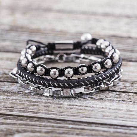 Cord + Chain Twisted Trio Bracelet Set // White