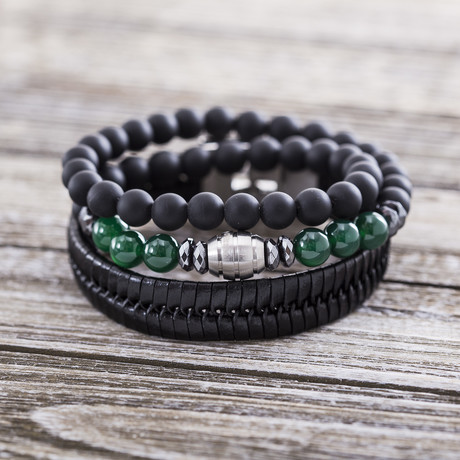 Leather Stripe Beaded Duo Bracelet Set // Green + Black