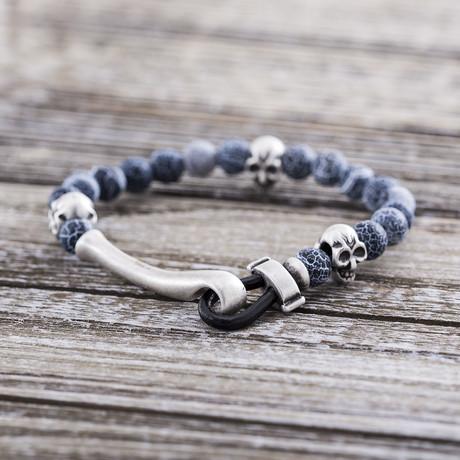 Agate Skull Beaded Hook Bracelet // White