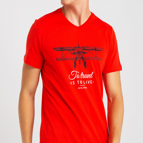 To Travel Slim Fit T-Shirt // Red (S)