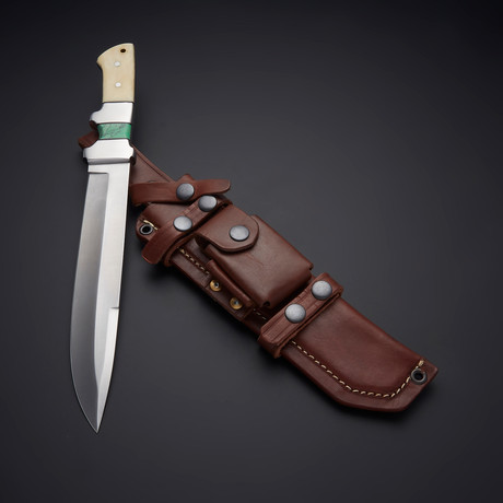 D2 Green Turquoise Stone + Camel Bone Knife