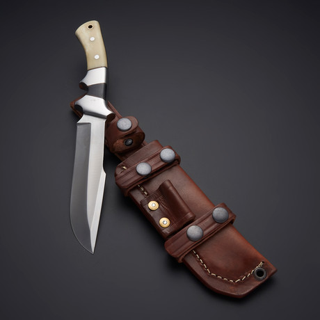 D2 Camel Bone + Micarta Sub Hilt Hunting Knife