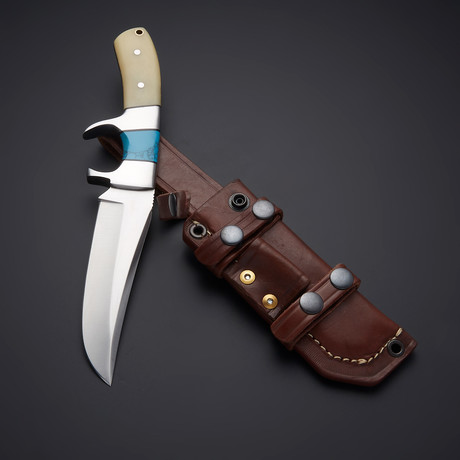D2 Blue Turquoise Stone + Camel Bone Sub Hunter Knife