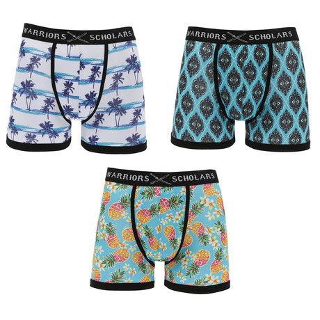 Alistair Moisture Wicking Boxer Brief // White + Turquoise + Light Blue // Pack of 3 (S)