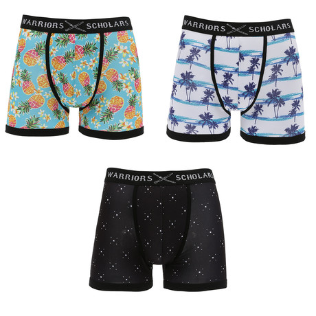 Frederick Moisture Wicking Boxer Brief // Black + White + Light Blue // Pack of 3 (S)