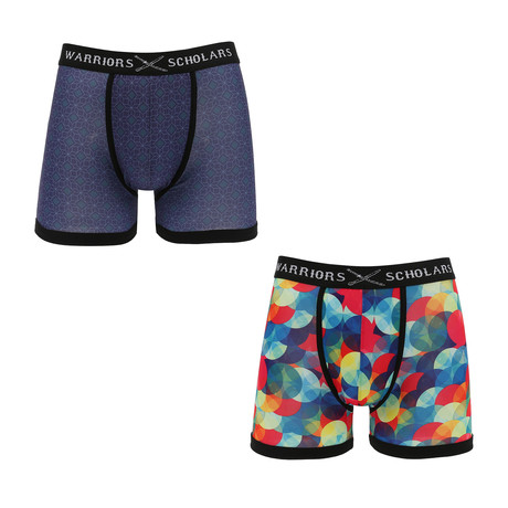 Oliver Moisture Wicking Boxer Brief // Dark Blue + Multi // Pack of 2 (S)