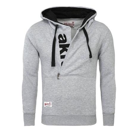 Kapuzen Vertical Zip Sweater // Gray + Black (S)