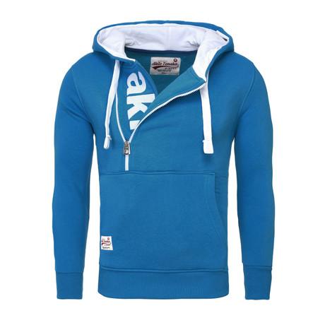 Kapuzen Vertical Zip Sweater // Blue (S)
