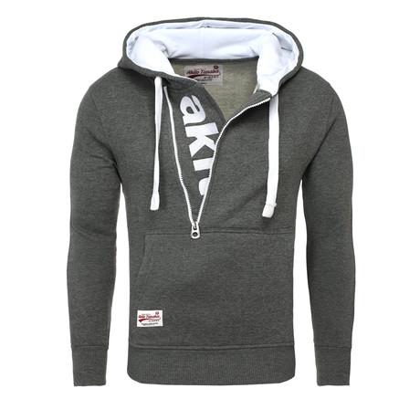 Kapuzen Vertical Zip Sweater // Anthracite + White (S)