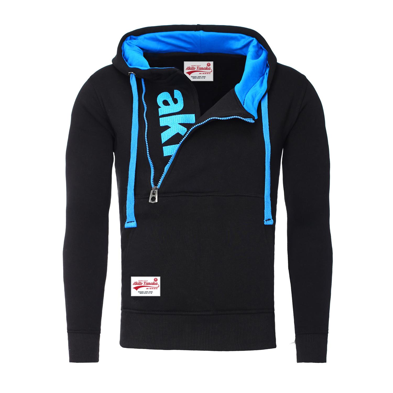 Kapuzen Vertical Zip Sweater // Black + Aqua (S) - Akito ...