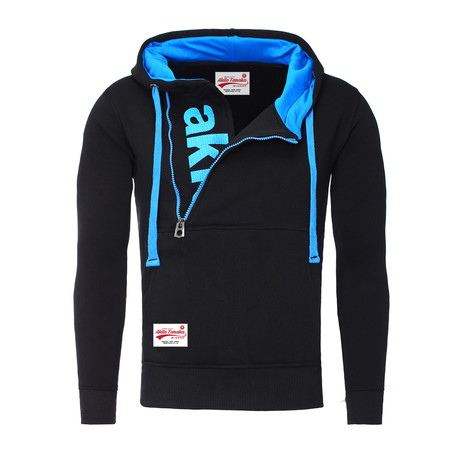 Kapuzen Vertical Zip Sweater // Black + Aqua (S)