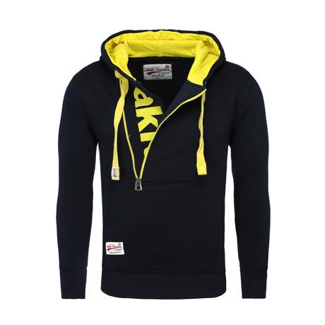 Kapuzen Vertical Zip Sweater // Navy + Yellow (S)