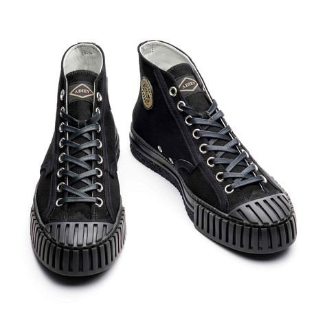 High Lace-Up Canvas Sneakers // Black (Euro: 39)