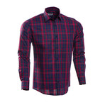 Barry Checkered Slim Fit Button Up Shirt // Navy + Red (S)