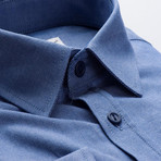 Plain Slim Fit Button-Up // Solid Navy Blue (S)