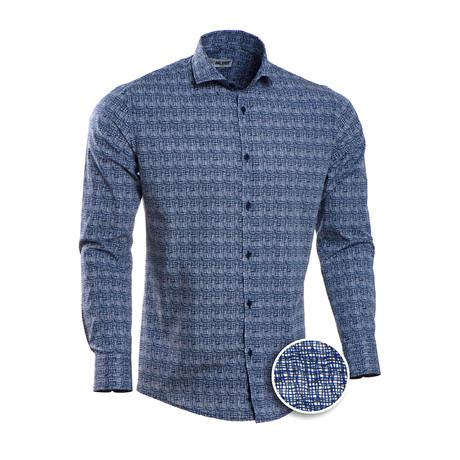 Patterned Slim Fit Dress Shirt // Blue + White (S)