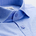 Checkered Patterned Slim Fit Dress Shirt // Blue (S)