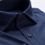 Patterned Slim Fit Dress Shirt // Navy + Red (S)