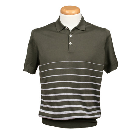 Gradient Striped Polo Shirt // Green + Gray (XS)