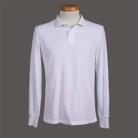 Slim Fit Long Sleeve Polo Shirt I // White (XS)