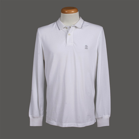 Slim Fit Long Sleeve Polo Shirt // White (XS)