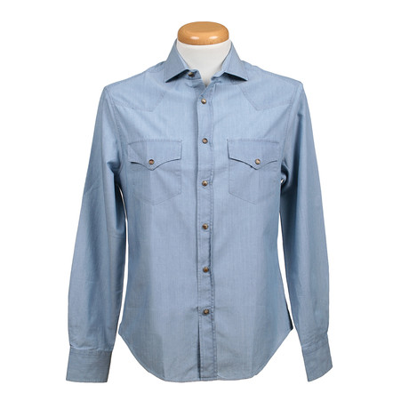 Leisure Fit Long Sleeve Denim Shirt II // Blue (XS)