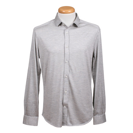 Leisure Fit Long Sleeve Stretch Fabric Shirt // Gray (XS)