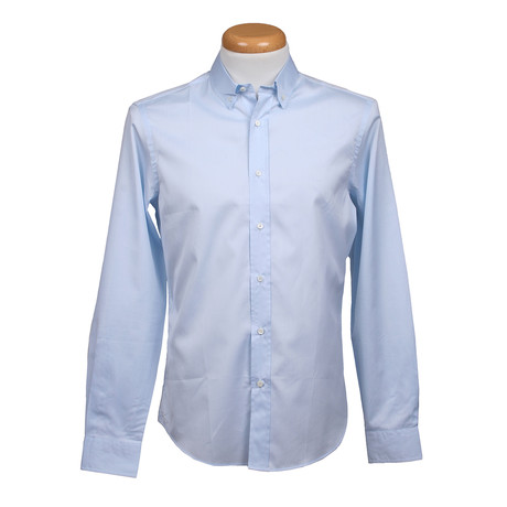 Brunello Cucinelli // Leisure Fit Long Sleeve Shirt V // Blue (XS)