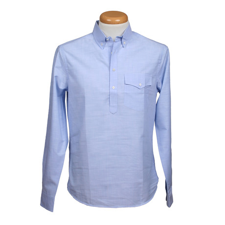 Brunello Cucinelli // Leisure Fit Long Sleeve Shirt VI // Blue (S)