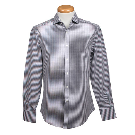 Brunello Cucinelli // Slim Fit Long Sleeve Shirt // Striped Dark Gray (XS)