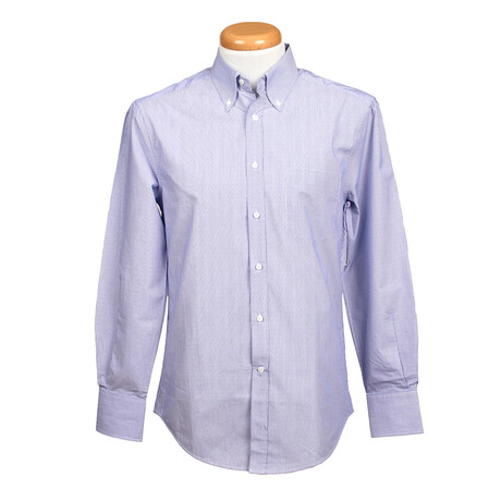 Brunello Cucinelli // Slim Fit Long Sleeve Shirt II // Textured Blue (XS)