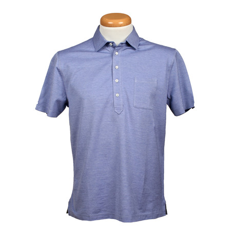 Regular Fit Short Sleeve Stretch Fabric Shirt // Blue (XS)