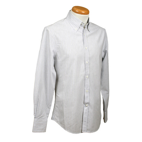 Brunello Cucinelli // Slim Fit Striped Long Sleeve Shirt // Granite (S)