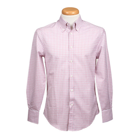 Brunello Cucinelli // Slim Fit Plaid Long Sleeve Shirt III // Pink (S)