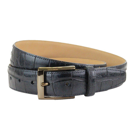 "Chedworth Italian Embossed Croc Belt // Black (32"")"