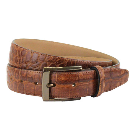 "Chedworth Italian Embossed Croc Belt // Tan (32"")"