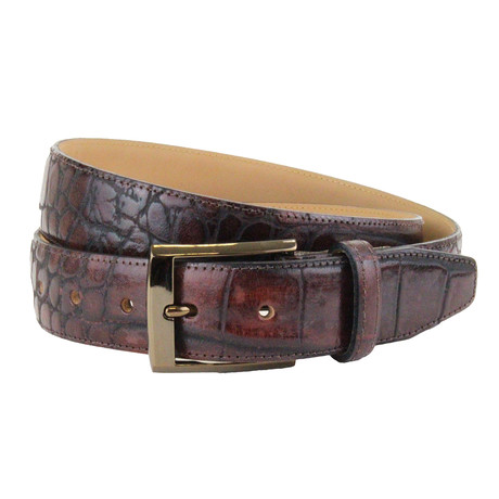 "Chedworth Italian Embossed Croc Belt // Oxblood (32"")"