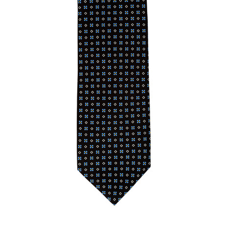 Barbuti Micro-Patterned Tie // Black + Teal