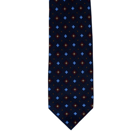 Barbuti Diamond Pattern Tie // Blue + Brown