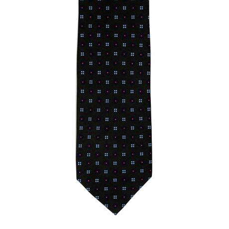 Barbuti Patterned Tie // Black + Teal + Red