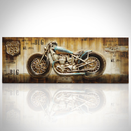 Route 66 Motorcycle 3D Art // Wood Plank Oil Painting