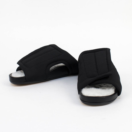 Rick Owens // Vicious Granola Fur Slides // Black (US: 6)