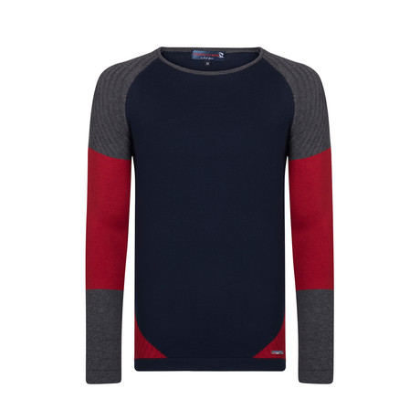 Jacob Pullover // Navy + Gray + Bordeaux (XS)