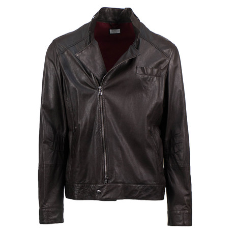 Brunello Cucinelli // Men's Leather Zip-Up Jacket // Brown (Euro: 48)