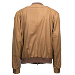 Brunello Cucinelli // Leather Zip-Up Bomber Jacket // Brown (Euro: 56)