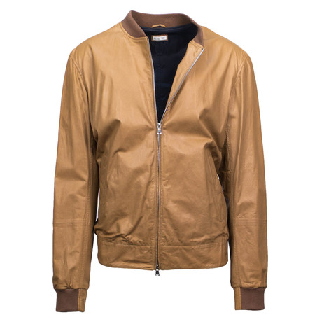 Brunello Cucinelli // Men's Leather Zip-Up Bomber Jacket // Brown (Euro: 48)