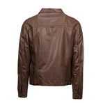 Brunello Cucinelli // Men's Leather Full Button Jacket // Brown (Euro: 50)