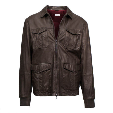 Brunello Cucinelli // Men's Leather Double-Zip Field Jacket // Brown (Euro: 48)