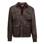 Brunello Cucinelli // Leather Double-Zip Field Jacket // Brown (Euro: 52)
