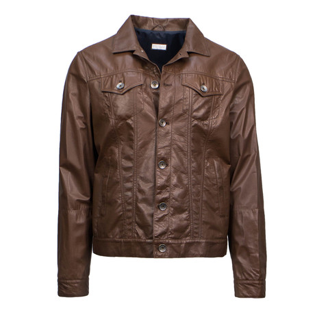 Brunello Cucinelli // Men's Leather Full Button Jacket // Brown (Euro: 48)